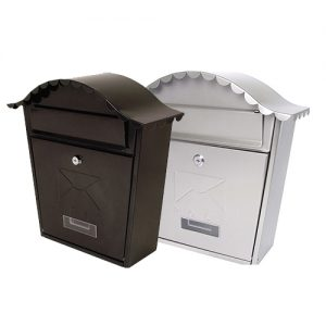 stainless steel or black classic postbox